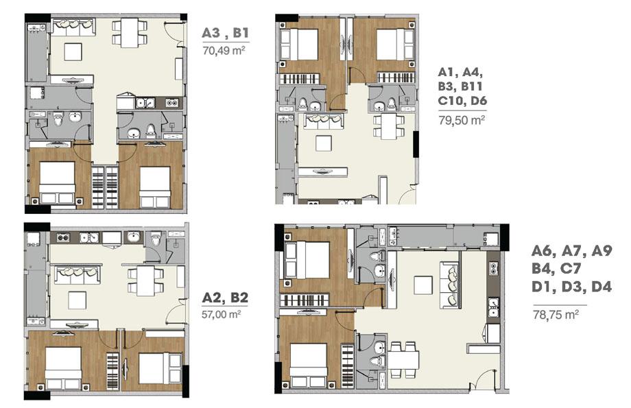 Layout chi tiết từng căn hộ FLORITA